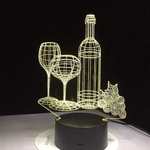 HCDZhj Copa de vino botella 3D lámpara de mesa LED 7 colorido acrílico noche luz amigos Birhtday regalos sueño iluminación dormitorio dormitorio decoración mesita de noche 7 color táctil