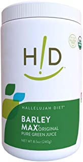 Hallelujah Diet Organic BarleyMax - Barley and Alfalfa Grass Juice Powder, Original, 8.5oz (120 Servings)