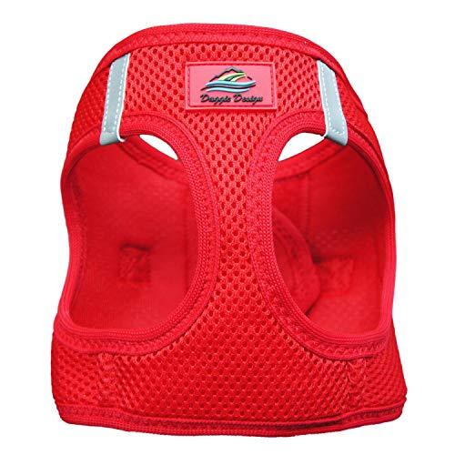 DOGGIE DESIGN American River Ultra Choke-Free Harness (Red, Medium (Chest 16