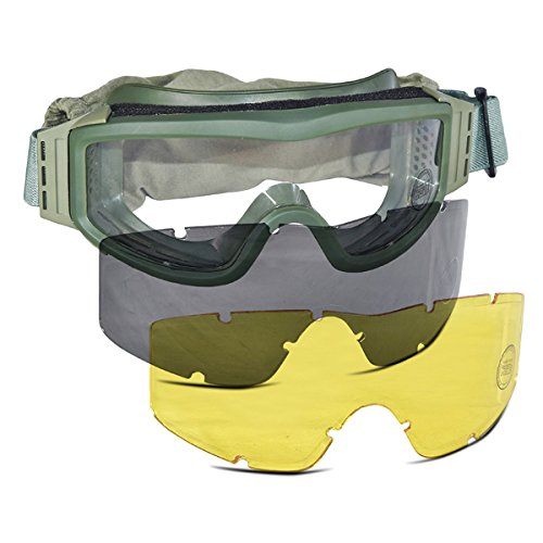 Lancer Tactical CA-203G Safety Airsoft Goggles w/ Interchangeable Multi Lens Kit (OD Green), Includes Smoked, Clear, & Yellow Lens