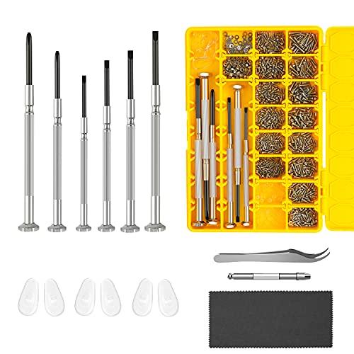 Eyeglass Repair Kit, Hiketolight Glasses Repair Kit with 1100pcs Eyeglass Screws Include Nose Pads,...