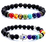 Doitory 8mm Lava Rock Chakra Beads Bracelet Elastic Natural Stone Yoga Bracelet Bangle(Set 4)