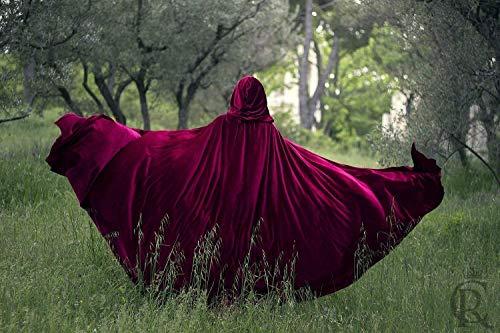 Capa Caperucita Roja Disfraz Halloween traje medieval mujer y hombre, rojo burdeos de terciopelo con capucha