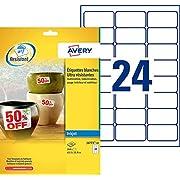 AVERY - Pochette de 240 étiquettes ultra-résistantes autocollantes en polyester, Personnalisables et imprimables, Format 63,5 x 33,9 mm, Impression jet d'encre, (J4773-10)