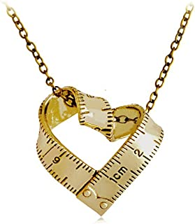 YICAIHUI Love Beyond Measure, Gold Silver Heart-Shaped Measuring Tape Necklace, Weightloss, Couple, Ruler, Fitness Jewelry