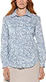 Coolibar UPF 50+ Women's Mylitta Travel Shirt - Sun Protective (Large- Blue Etched Leaf)