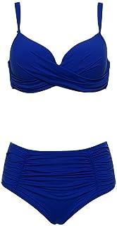 بيكيني مثير للنساء ملابس سباحة سادة قابلة للطي بخصر مرتفع وعدة مقاسات كبيرة لملابس السباحة WANGXINQUAN (اللون : أزرق فاتح ...