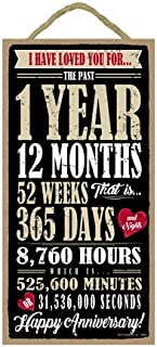 SJT ENTERPRISES, INC. I Have Loved You for 1 Year, 12 Months, 52 Weeks, ect. Happy Anniversary 5