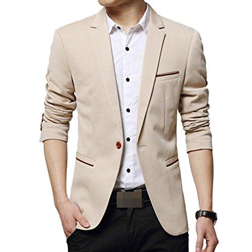 LEOCLOTHO Giacche da Uomo Casual Slim Fit Monopetto Giacca Costume Blazer Festivo Vestito da Festa Tops Cachi S