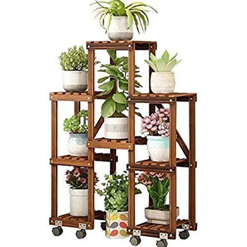 Soporte para plantas Estante para macetas Estante de la flor de madera maciza anti-corrosión de soporte con 5 niveles interior maceta de flores estantería de plantas de plantas de madera de madera Mue