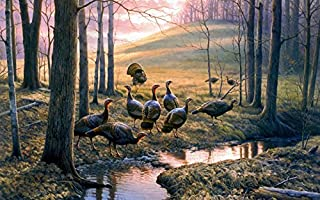 Art Callin Em Out creek turkeys hill autumn leaves autumn Oil Painting Prints on Canvas Wall Art Picture for Living Room Home Decorations