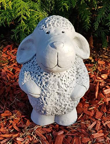 Gartenfigur stehendes Schaf groß frostfest von Hand hergestellt Dekofigur für außen Garten Terassen Balkon Gartendeko