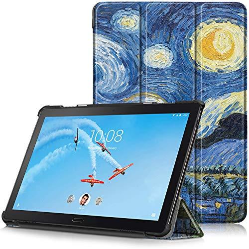 TTVie Étui pour Lenovo Tab P10 - Housse Ultra Mince et Léger à Rabat avec Support et Fonction Réveil/Sommeil Automatique pour Lenovo Tab P10 10.1'' Full HD IPS Touch Tablette PC, Ciel Étoilé