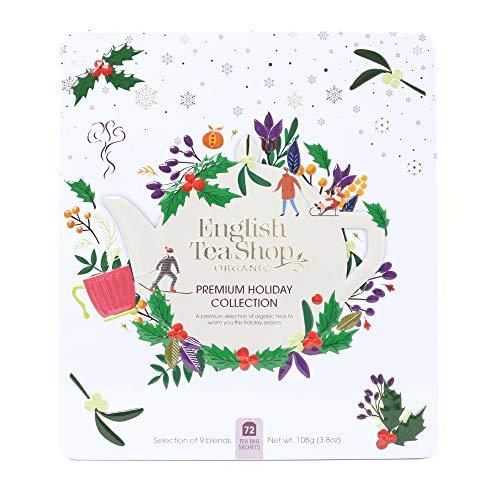 """English Tea Shop - Winter-Tee Geschenkset in edler Metalldose """"Premium Holiday Collection"""" Weiß, BIO, 72 Teebeutel (9x8), Ideale Geschenk Idee zu Weihnachten"""