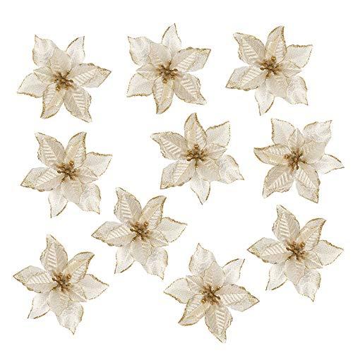 TangTanger 10 Pcs Glitter Artificial Wedding Christmas Flowers Glitter Christmas Tree Ornaments (Gold)