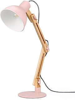 Tomons Lámpara de Escritorio, Columpio del Brazo, Lámpara de Mesa Ajustable y Desmontable de Madera para Oficina, Sala, Estudio y Dormitorio, Rosa