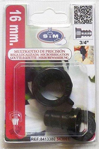 "S&M Terminal Hembra Goteo 3/4"" x 16mm. Blister, Negro"