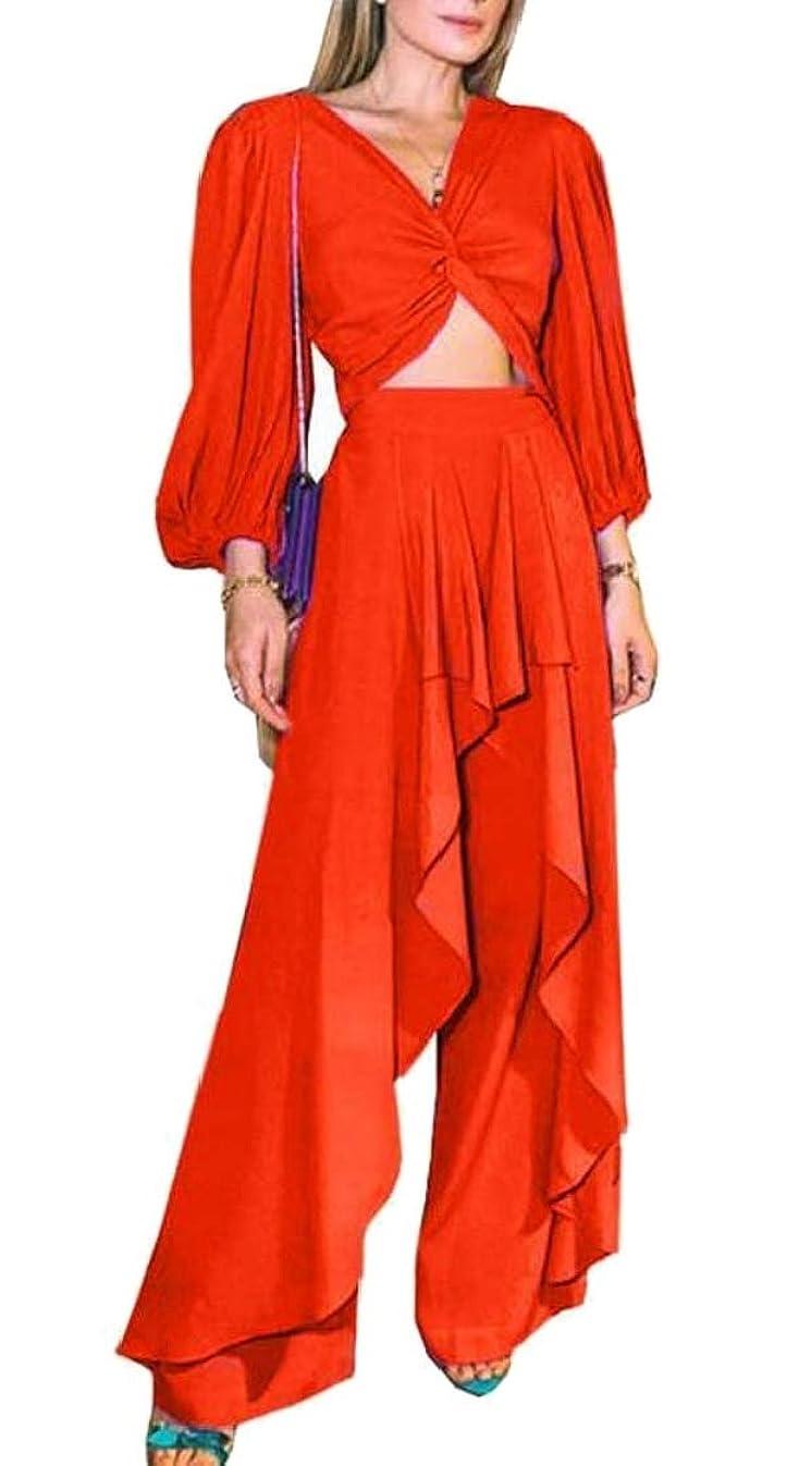 お金固有の角度女性2ピース衣装ロングスリーブ作物トップワイド脚パンツは、クラブのセットを設定