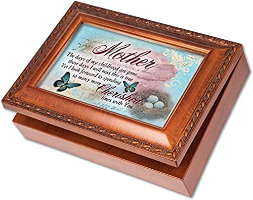 Mother Cottage Garden Rich boisgrain Finish with Rope Trim bijoux Music Box - Plays Song Wind Beneath My Wings by Cottage Garden
