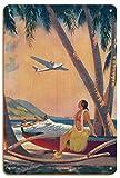Donde el Romance y el Progreso se encuentran - Chica Hawaiana Hula - Canoa estabilizadora (WA'a) - Página de Calendario Pin-up de Frederick Heckman c.1941 - Letrero de Madera 20x30cm
