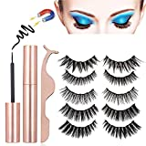 Magnetic Eyeliner and lashes kit,Eyelashes Magnetic Full Eye with Waterproof Eyeliner,5 Styles Magnetic Eyelashes Kit with Tweezers,No Glue Reusable Natural Look Handmade 5 Magnets Lashes[5 Paris]