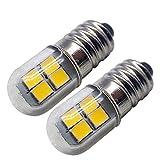 Ruiandsion Bombilla LED E10 de 4,5 V – 6 V E10 con base de tornillo 2835 8SMD, chip amarillo, actualización para faros, linternas, linterna (paquete de 2)