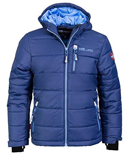 Trollkids Kinder wasserdichte Skijacke / Winterjacke Hemsedal, Marineblau / Mittelblau, Größe 104