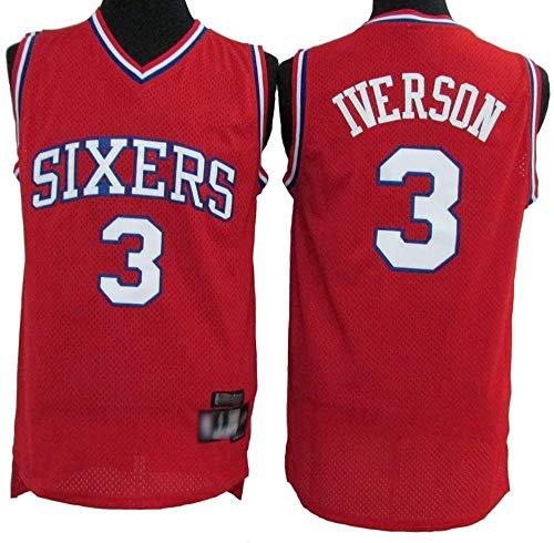 Jersey Men's, Philadelphia 76Ers # 3 Allen Iverson - Uniformes De Baloncesto De La NBA Camisetas De Deporte Sin Mangas Clásicas Y Camisetas Cómodas,Rojo,L(175~180CM)
