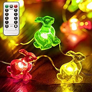 Easter Bunny Decorative String Lights, 40 Rabbits 8 Flash Modes Remote Control Fairy Lights with Timer, Rabbit Shaped Ligh...