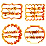 MRDUEWS Formulario de galletas de 4pcs con frases divertidas e irreverentes, moldes de galletas con buenos deseos, moldes de galletas para formas para hornear, ideal para galletas originales, conjunto