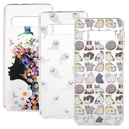 ToneSun Carcasa para Samsung Glaxy S10, 3 carcasas pintadas, carcasa de silicona, funda para teléfono móvil transparente con gafas, unicornio + perro selfie + panda de bambú