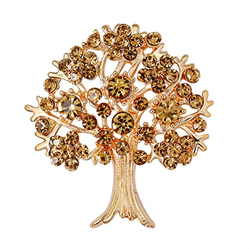CAOLATOR Bäume Brooch Retro Damen Brosche Kristall Broschen Frauen Nadel Anstecker Anstecknadeln Geschenk Schmuck mit Strassteinen für Kleidung/Schals/Tücher/Ponchos/Hochzeit (Golden)
