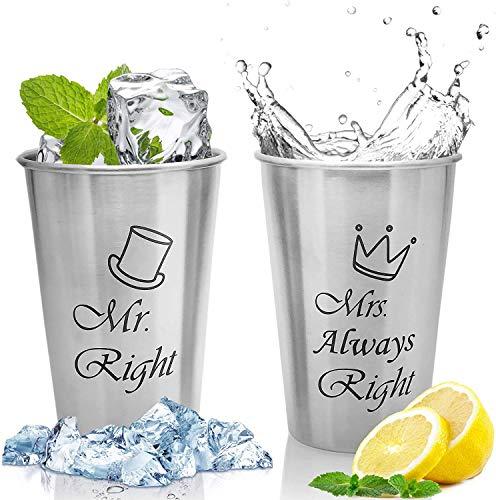 MCleanPin Set di 2 Tazze in Acciaio Inossidabile Bicchieri Infrangibili da Birra Bevande Bibite Tazze Inox Senza BPA Lavabili 500 ml, Regalo (Mr.Mrs.)