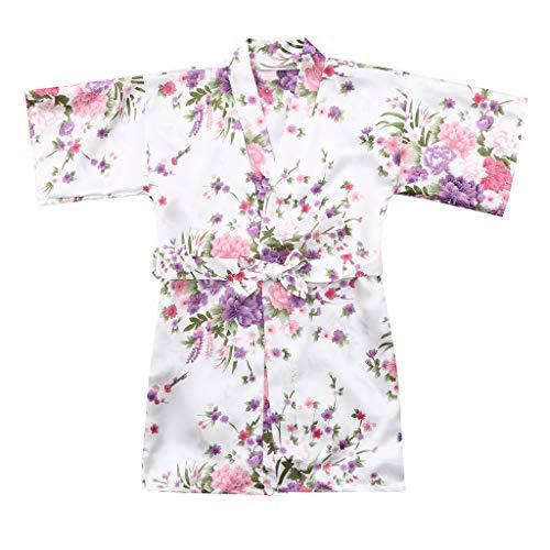 Nachtkleding kleding, kleine kinderen, dik, baby, kind, meisjes, bloemensilk, satijn, kimono, roben, badjas 14 wit