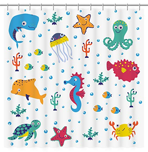 Fourth Shore Sea Life Shower Curtain for Kids, Children's, Boys, or Girls Bathroom. Multi-Color Happy Sea Creature Pattern. for Master, Guest, or Beach House Bathroom. Includes Curtain Hooks.