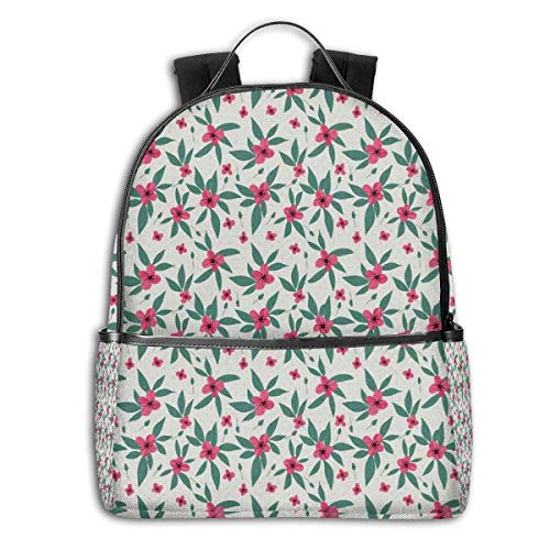 Mochilas Tipo Casual, Mochilas de Marcha, College Backpacks for Women Girls,Simplistic Flower Petals Nature Beauty Florets Growth Illustration,Casual Hiking Travel Daypack
