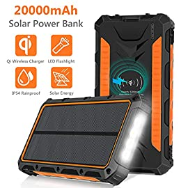 Solar Charger, 20000mAh Solar Power Bank Wireless Charger Portable External Solar Battery Pack with 4 LED Light 3 Output… 3 【LARGE CAPACITY】Built in Eco-friendly 20000mAh Li-Polymer battery, work with all iPhone/iPad/Tablets, other cell phones and electronic devices. Automatically adjust the output power to deliver the optimal charging current keep your devices from overcharging, over-current, over-voltage and short circuit. Ideal choice for hiking, camping trips or other outdoor activities. 【Qi Wireless & 3 High Output Ports】The Qi portable solar charger compatibles with iPhone 11/11 Pro/11 Pro Max/XS Max/XR/XS/X/8/8Plus/Samsung Galaxy S10/S9/S9+/S8/Note 9 and all qi-enabled devices. Built-in 2 USB output and 1 Type-C output, allowing you safe to charge for 4 electronic devices simultaneously. 【Cable and Solar Charging Combine 】Dual input port (Type-C and Micro USB) enables to fully charge itself around 6-8 hours with the high-speed. The solar panel could absorb light and transfer into electricity. Note: Solar charging is for emergency use, not primary charging source. It is highly recommend you fully charge via wall charger upon first use.