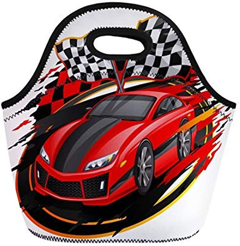 Vontuxe Insulated Lunch Tote Bag Red Race Speeding Racing Car Checkered Flag Racetrack Orange Outdoor Picnic Food Handbag Lunch Box For Men Women Children