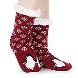 Tacobear Mujeres Gruesos lana calcetines de piso casa abrigados animal calcetines de mujeres antideslizantes calcetines de alfombra Zapatillas de casa para Mujer (vino rojo-Pingüino)