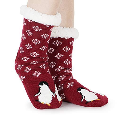 Tacobear Damen Kuschelsocken Haussocken Bettscoken Hüttensocken Wintersocken Warme Dicke Socken mit Antirutschsohle für Damen und Mädchen (Weinrot-pinguin)