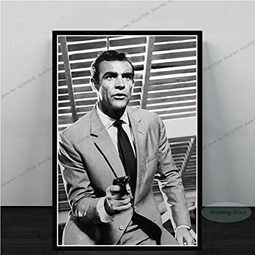 meishaonv Sean Connery Attore di Film James Bond 007 with Guns Poster Art Canvas Painting Picture for Living Room Home Decor A1181 50 × 70 CM Senza Cornice
