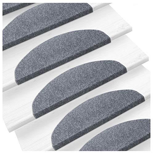 Etm Set De 15 Marchettes Descalier Surface Confortable Et Antidérapante Taille 23x65cm Couleurs Diverses Gris