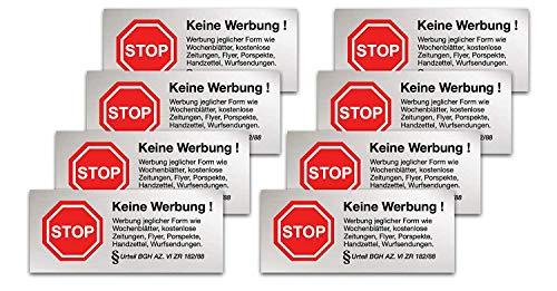 96x Aufkleber Schild Sticker mit § BGH Beschluss Keine Werbung kostenlose Zeitungen, Zeitung, Flyer, Wurfwerbung wetterfest - Werbung Nein Danke für Briefkasten (96x Stück)
