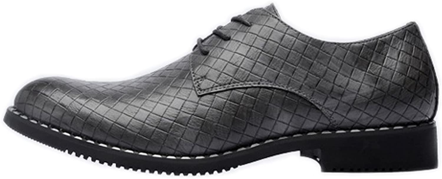 JIALUN-shoes Fashion Men's PU Leather shoes Square Texture Upper Lace Up Breathable Business Block Heel Lined Oxfords