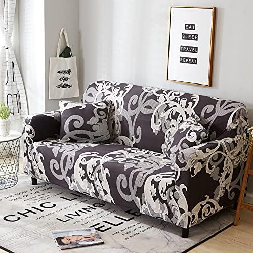 ASCV Funda de sofá elástica a Rayas Doradas Spandex Funda de sofá Universal Funda Protectora de Muebles Funda de sofá Decoración del hogar A1 2 plazas