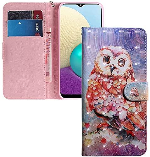 COTDINFOR Huawei Y6 2019 Hülle 3D-Effekt Painted cool Schutzhülle Flip Bookcase Handy Tasche Schale mit Magnet Standfunktion Etui für Huawei Y6 Pro 2019 / Honor Play 8A A Brave Owl BX.