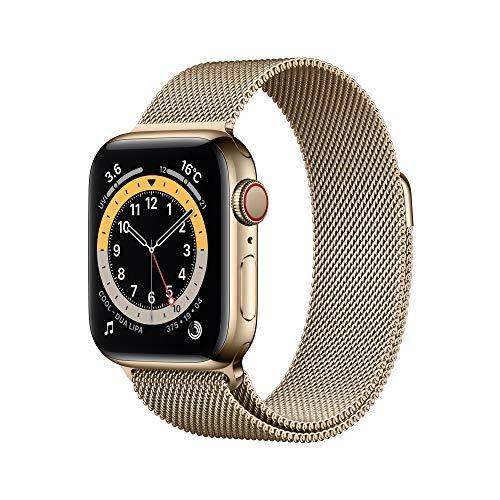 最新 Apple Watch Series 6(GPS + Cellularモデル)- 40mmゴールドステンレススチールケースとゴールドミラネーゼループ
