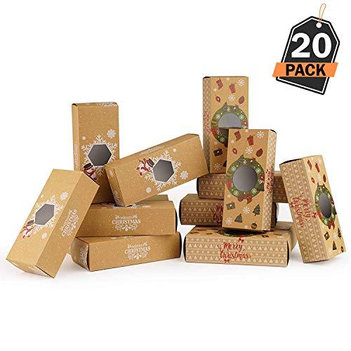 20 Cajas de Regalo para Navidad – Cajas Kfraft para Pasteles Galletas – Accesorio para...