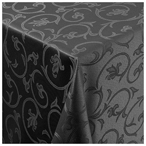 MODERNO Tischdecke Damast Stoff Barock Tulpen Tischtuch Bügelarm eckig 80x80 cm in Schwarz mit umgenähtem Rand Premium Qualität