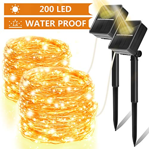 Solar String Lights 2 Pack - 200 LED Outdoor Solar Fairy Lights 8 Modes Copper Wire IP65 Waterproof. Solar Powered Fairy Lights for Christmas, Garden, Yard, Party, Camping, Patio, Tree